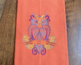 Orange Kitchen Tea Towel with Embroidered COLORFUL OWL