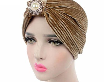 Khaki Gold Velvet Indian Turban Hat, Hijab, Brown Headwrap with Pearl Brooch