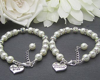 Mother of the Bride Bracelet, Mother of the Groom, Set Of Two, Ivory Bridal Sets, Brides Mother Charm Bracelet, Grooms Mother Gift,