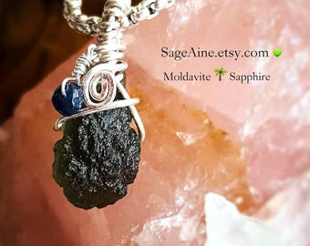 SageAine: Rare Moldavite Sapphire Silver Pendant, Reiki Charged, Crystal Healing, All Chakras, high vibration, Gift for her Valentine's Day