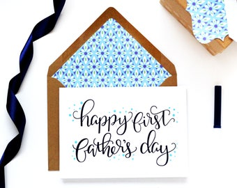 Happy First Father's Day Card with matching gift tag