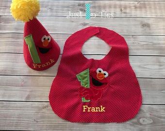 Elmo First Birthday Party Hat and Bib