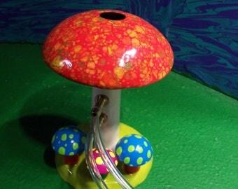 Mushroom Shroom hookah hooka Tobacco pipe psychedelic trippy RED  2 hitter