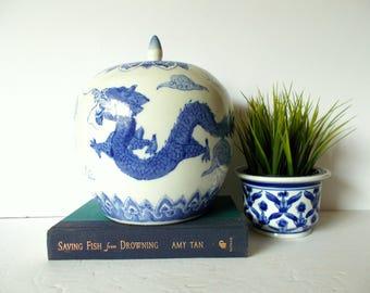 Lidded Chinois Vase Blue and White Ginger Jar Dragon Vase Large Ceramic Vase Asian Decor Oriental Decor Palm Beach Decor Chinoiserie Chic