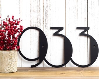 Custom Metal house number with text Modern Rustic house