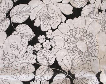 Vintage 1960s Fabric: Black and White Mod Floral Cotton Voile- 3 Yards