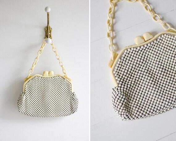 vintage 1940s white Whiting and Davis mesh purse   1940s handbag   1930s bakelite purse   celluloid purse   40s mesh clutch bag