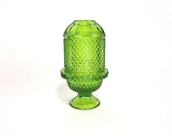 Vintage Viking Glimmer Light * Emerald Green Diamond Point Pattern * Fairy Lamp * Mid Century
