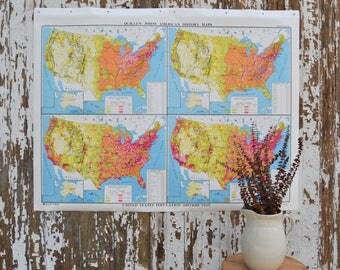 Vintage US School Map - Large United States Nystrom America Population