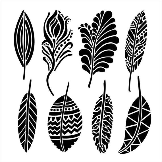 """Fancy feathers,12 x 12"""" Stencil /  template a Dina Wakley design perfect for mixed media, scrapbooking, journaling and so much more"""