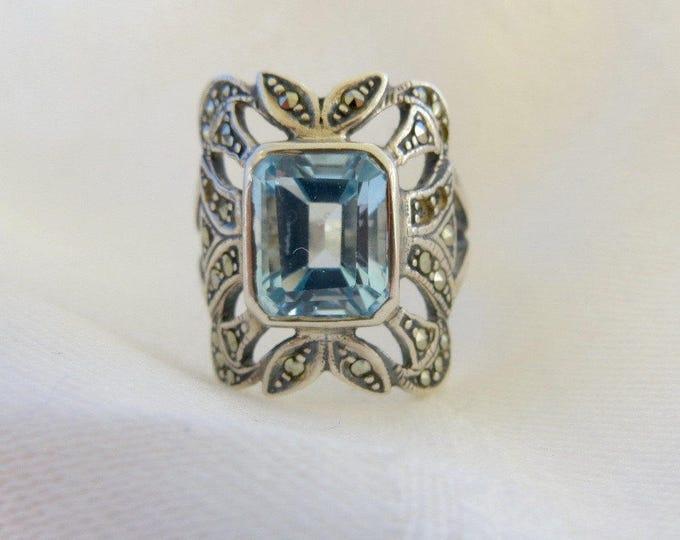 Sterling Aquamarine Ring, with Marcasites, Emerald Cut Aquamarine Stone, Size 6.5
