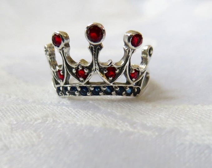 Art Nouveau Crown Ring, Sterling Filigree, Fire Garnet, Size 6 Ring, Vintage Crown Ring, January Birthstone