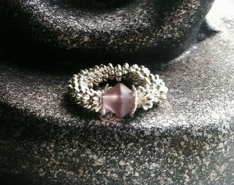 Silver ring with dusky pink bead
