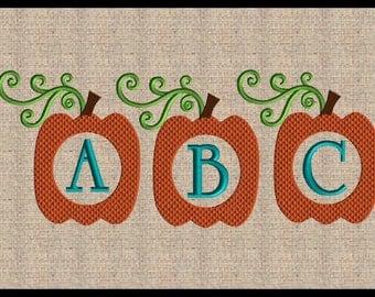 Pumpkin Font Frame Embroidery Design Mini Pumpkin Embroidery Design Fall Embroidery Design Thanksgiving Embroidery Design 5x7