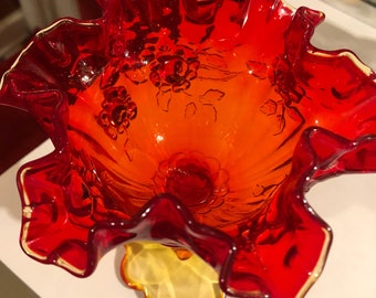 Vintage Fenton amberina/red and amber pedestial compote/candy dish with rose design