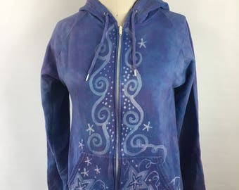 SMALL Organic Cotton Hoodie - hand dyed - bleach painted - Crescent moon and stars design