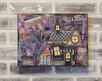 Cute Mixed Media Halloween Canvas..Halloween Art..Halloween Decor..Haunted House Canvas..Mixed Media Art..Original Mixed Media..Whimsical