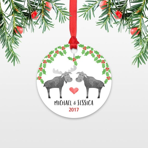 Personalized Christmas Ornament, Moose Couple Wedding Christmas Ornaments, Engagement Ornament, Engaged Ornament, Moose Christmas Decoration