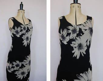 Vintage 1990s black sunflower floral dress - 90s dress - 90s grunge dress - 90s floral maxi dress - 90s tank dress - 90s sleeveless dress