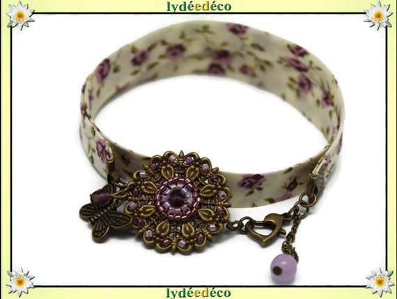 Bracelet country old liberty purple flower print Pink White glass beads and brass bronze