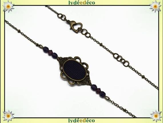 Headband polka dot retro purple glass bicone faceted beads bronze hair wedding party
