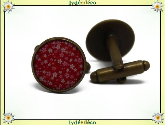 2 retro suit cuff links 14mm red rose resin flowers sakura Japan brass bronze