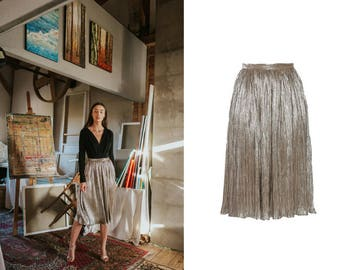 metallic tealength skirt - shiny calf length skirt - pleated skirt - casual skirt - silver pleated skirt - gold pleated skirt - party skirt