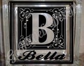 DIY Decal for Glass Blocks - Monogram Letter Custom Personalized Vinyl Decal