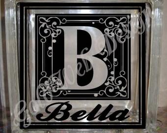 DIY Decal for Glass Blocks - Monogram Letter Custom Personalized Vinyl Decal