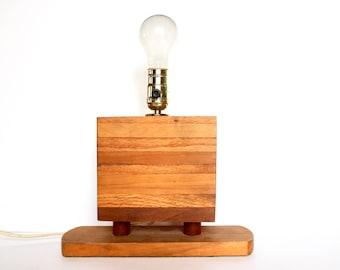 Vintage Rustic Table Lamp  / Vintage modern Wooden Table Lamp / Vintage Wood Lamp / MCM Lamp / Rustic Lamp / Minimalistic Lamp