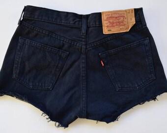 High waisted LEVI'S 501 shorts / Dark navy blue