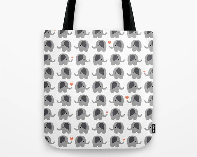 Tote Bag - Elephants with Orange Hearts Carry All Tote Bag - Beach Bag - Book Bag - Made to Order