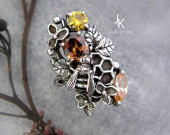 Bee ring - Twig ring - Honeycomb ring - sterling silver ring - hydrangea ring - Flower ring - Floral ring - MADE TO ORDER