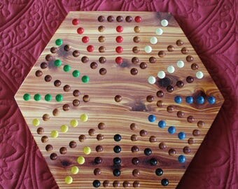 6 Player Aggravation Game Made of Solid Cedar