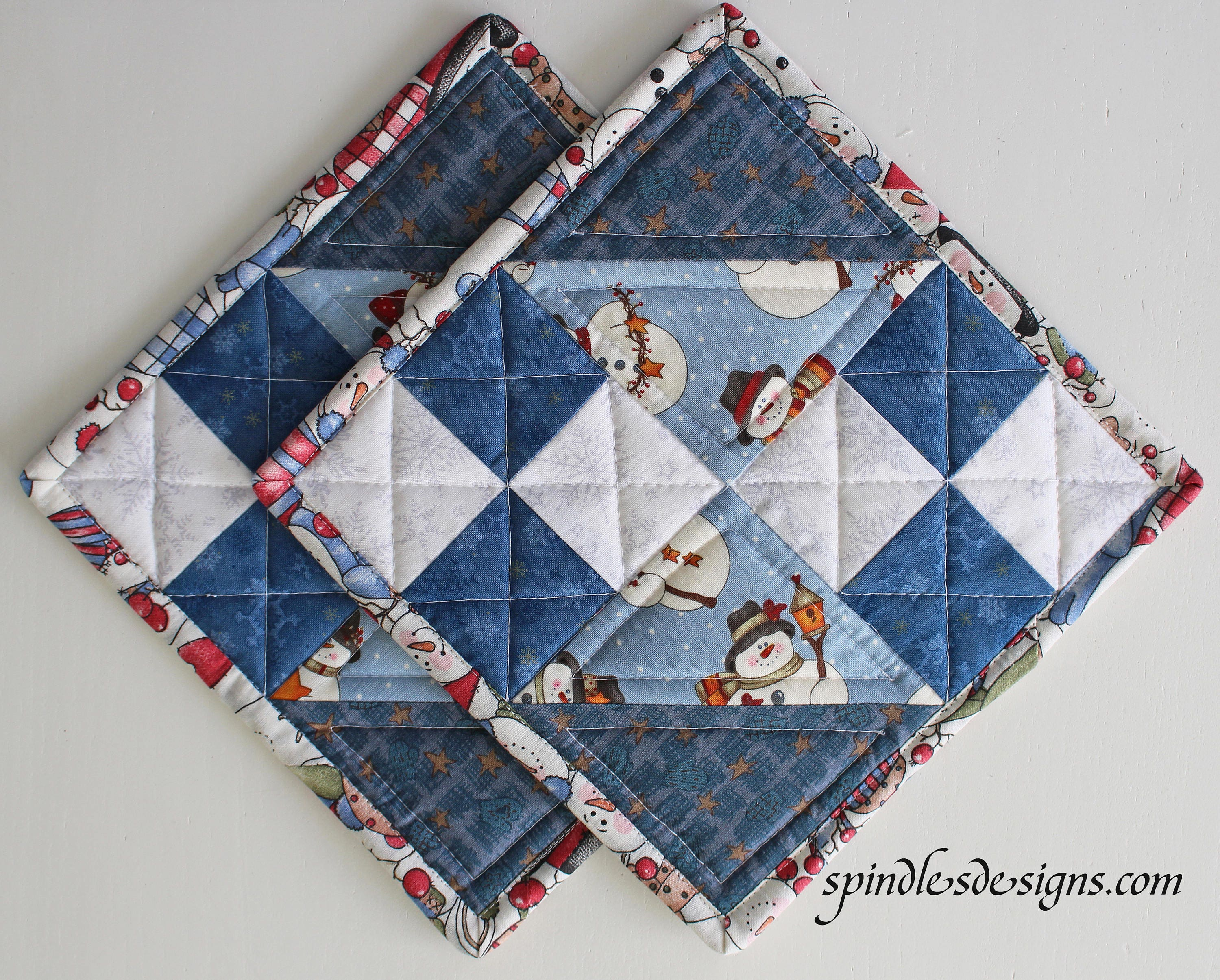 Christmassnowman Potholders Christmas Snowman Hot Pads Quilted