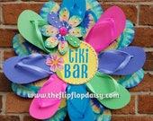 "Beautiful ""Tiki Bar"" Flip Flop Wreath Door Wall Decor Glitter Hippie Tie Dye"