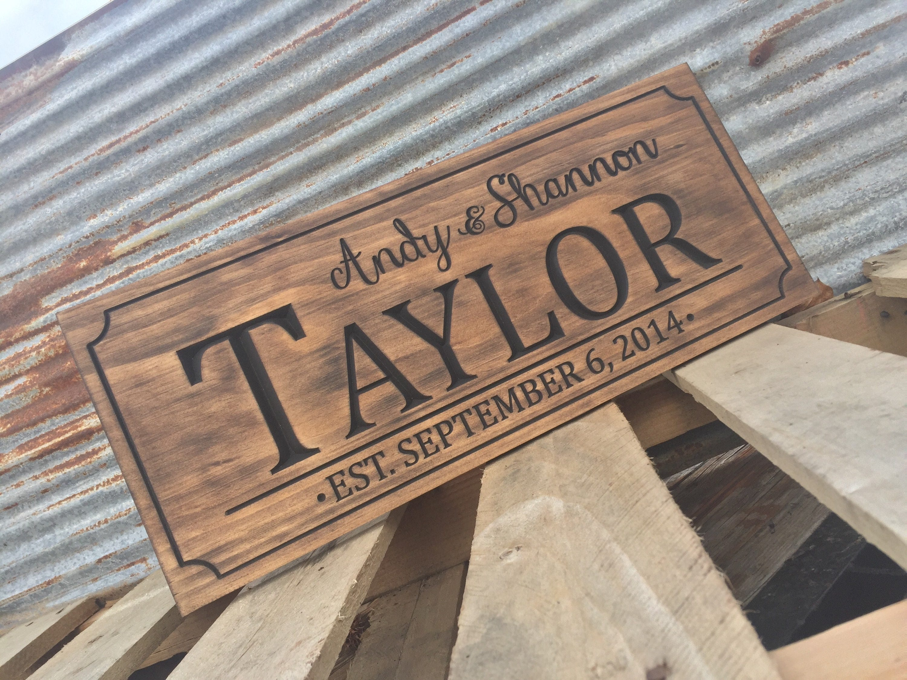 Custom engraved family name wood sign personalized wooden