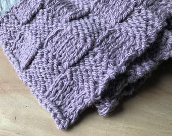 Lavender Wool Basketweave Patterned Scarf