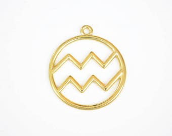 Aquarius Charm, Gold Aquarius Zodiac Pendant (206G)