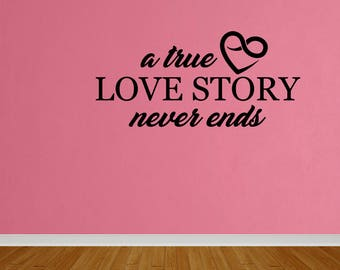 Wall Decal True Love Story Home Bedroom Decor Wall Art Decal Vinyl Quote Sticker Home Decor (DP323)