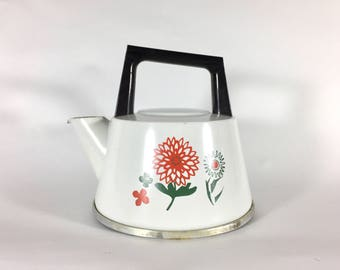 West Bend Aluminum Tea Kettle, Flowers, Floral, Metal, 1 1/2 quart, Enamel, 1960s