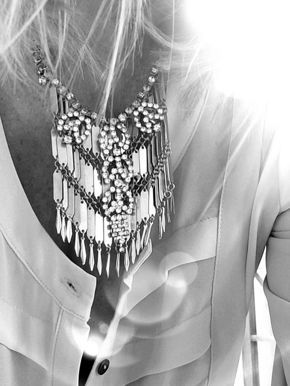 Vintage Gypsy Fringe and Rhinestone Bib Necklace