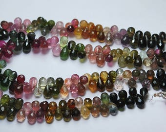 8 Inch strand,Natural Multi Tourmaline Faceted Drops briolettes 7-8mm
