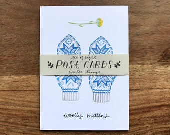 Set of 8 postcards - Winter Things