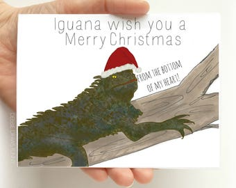 Funny Holiday Cards - Iguana wish you a Merry Christmas Funny Christmas Card - Funny Christmas Card - Christmas Pun Cards - Christmas Card