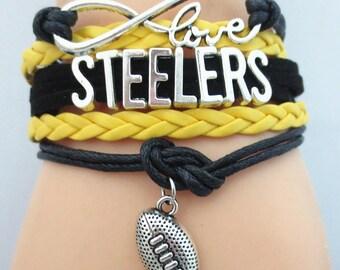 Steelers Infinity Bracelet,  Pittsburgh Steelers Infinity Bracelet,  Pittsburgh Infinity Bracelet