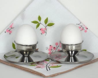 2 Vintage Stainless Egg Cups, Pair Polaris Boiled Egg Servers, Modern Style Stainless Steel Egg Cups w Attached Underplate, Made in Norway