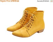 CIJ SALE Yellow Leather handmade boots / High Polly-Jean lace up yolk flat Boots by Tamar Shalem