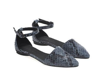 Blue scales textured sandals, Olivia, flat buckled leather sandals