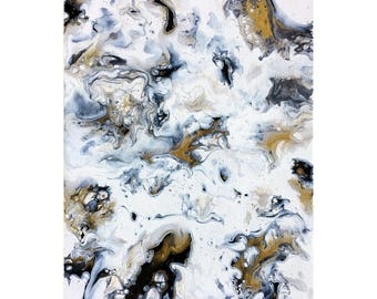 Black and Gold | Fluid Painting | Modern Art | Canvas Board | 9x12""